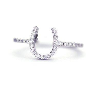 White Gold and Diamond Horseshoe Ring