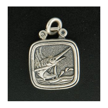 Sterling Sailfish Plaque Charm