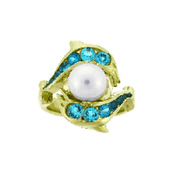 Blue Topaz And Pearl Porpoise Ring