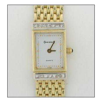 Ladies 14K Yellow Gold Rectangle Brokoe/Church Watch