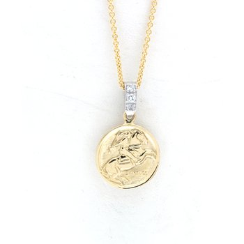 Yellow gold Santiago pendant with a diamond and white gold bail
