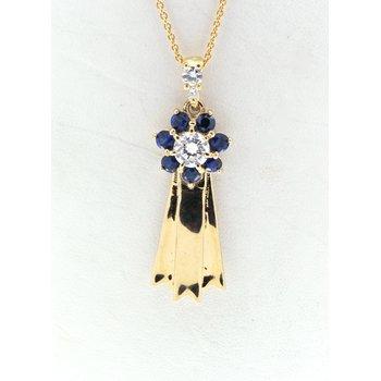 Blue Ribbon, yellow gold pendant