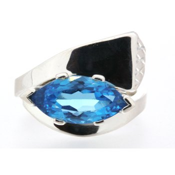 Large Sterling silver and Blue Topaz Nail Head ring