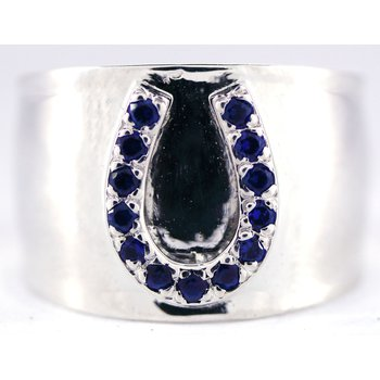 Sterling Silver Horseshoe Ring with Sapphires