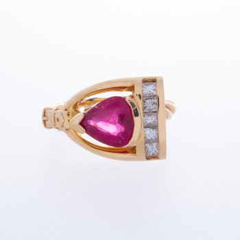 14 kt Yellow Gold Stirrup Ring w Rubalite and Diamonds