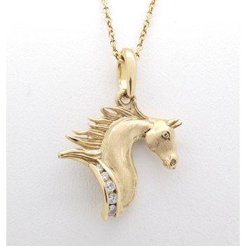 Yellow gold and diamond horse head pendant
