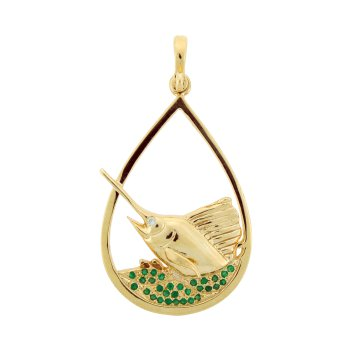 Diamond And Emerald Sailfish Pendant