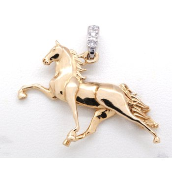 Yellow Gold and Diamond Horse Pendant