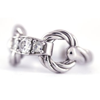 Diamond and White Gold Horse Bit Ring