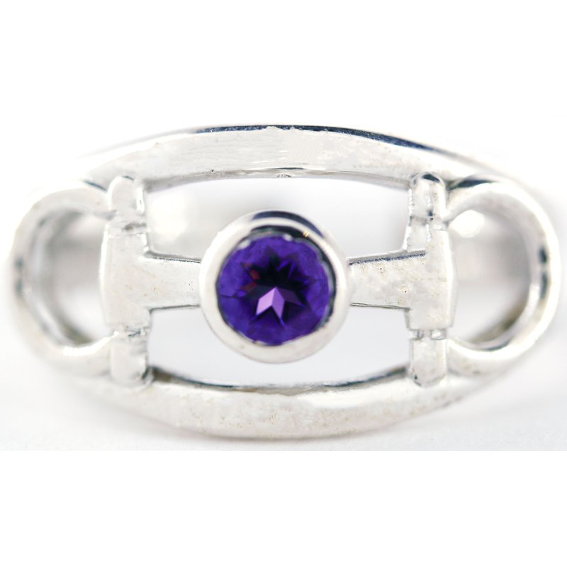 Equestrian Jewelry Sterling Silver Horse Bit Ring with Amethyst