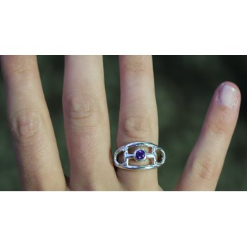 Sterling Silver Horse Bit Ring with Amethyst