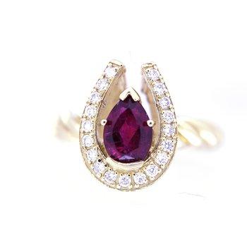 Diamond Horseshoe ring with Rubilite