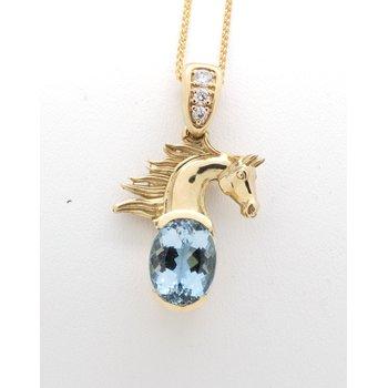 yellow gold, Blue Topaz and diamond horse head pendant