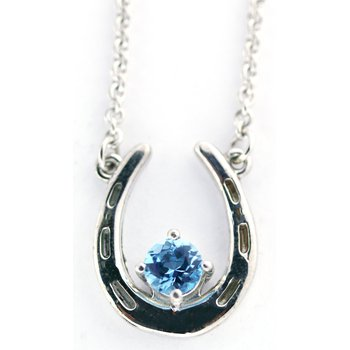 Sterling Silver Horse Shoe Necklace with Blue Topaz