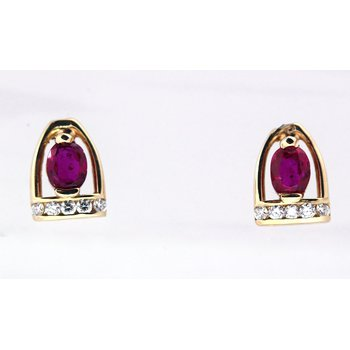 Ruby and Diamond Yellow Gold Horse Stirrup Earrings