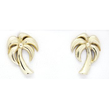 Yellow Gold Palm Tree Earrings