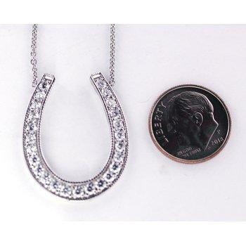 Diamond and White Gold Horseshoe Necklace