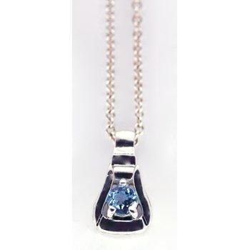Sterling Silver Stirrup Necklace with Blue Topaz Center