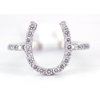 Diamond and White Gold Horseshoe Ring