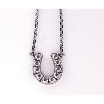 Diamond and White Gold Horseshoe Necklace