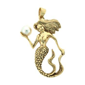 Mermaid And Pearl Pendant