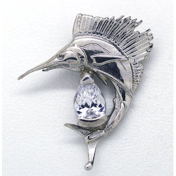 CZ and Sterling Silver Sailfish Pendant