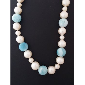 Larimar And Pearl Necklace