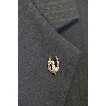 Yellow Gold and Sapphire Blue Ribbon on Horseshoe Tie Tac