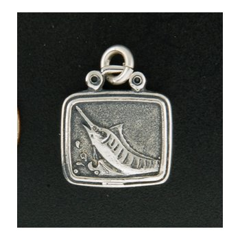 Sterling Marlin Plaque Charm