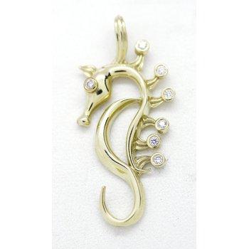 Diamond and Yellow Gold Seahorse Pendant
