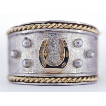 Sterling Silver & 14kt Yellow Gold Horse Shoe Ring
