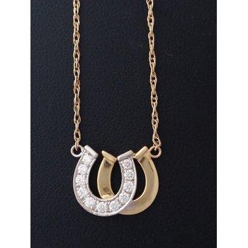 Yellow Gold Diamond Horseshoe Necklace