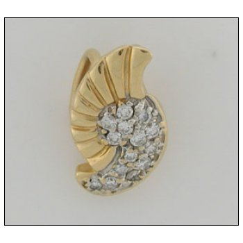 14K Gold Free Form Pave- Pendant With 0.48 Twt