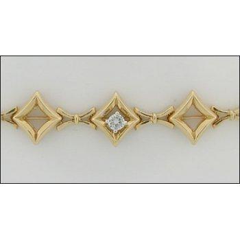 7.5 In. Ladies 14K Gold Link/Add-A-Diam Bracelet With Diamond