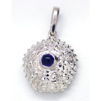 Amethyst and Sterling Silver Sea Urchin Pendant