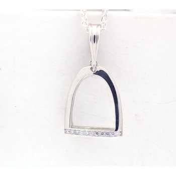 Sterling silver and diamond horse stirrup pendant