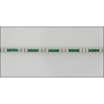 Traditional-14K White Gold Emerald And Diamond Bracelet