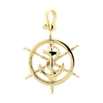 Ship'S Wheel And Anchor Pendant