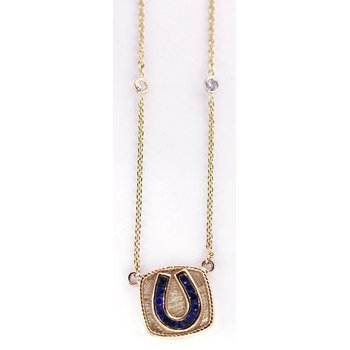 14kt Yellow Gold Horseshoe Necklace with Sapphires and Diamonds