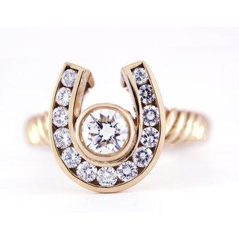 Diamond and Yellow Gold Horseshoe Ring