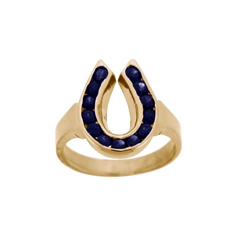 Equestrian Jewelry Sapphire Horseshoe Ring