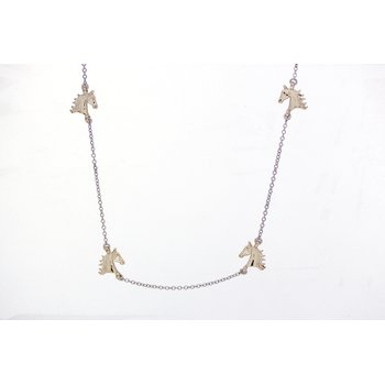 Yellow Gold Stationary Horse Head Necklace
