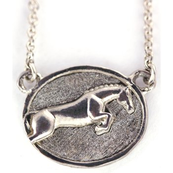Sterling Silver Jumper Horse Necklace