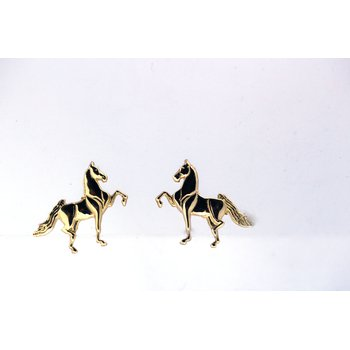 Yellow Gold Horse Earrings