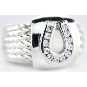 Sterling Silver Horseshoe Ring with Moissanites