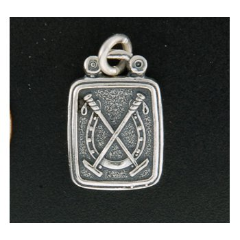 Sterling Horseshoe With Mallets Plaque Charm