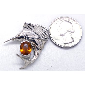 Citrine and Sterling Silver Sailfish Pendant