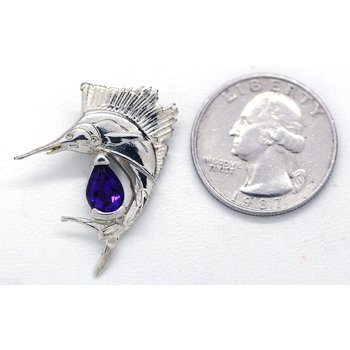 Amethyst and Sterling Silver Sailfish Pendant