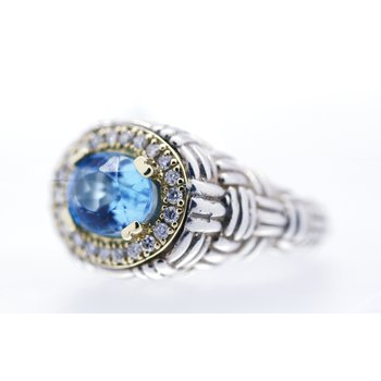 Blue Topaz and Diamond Two Tone Ring