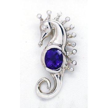Amethyst and Sterling Silver Seahorse Pendant